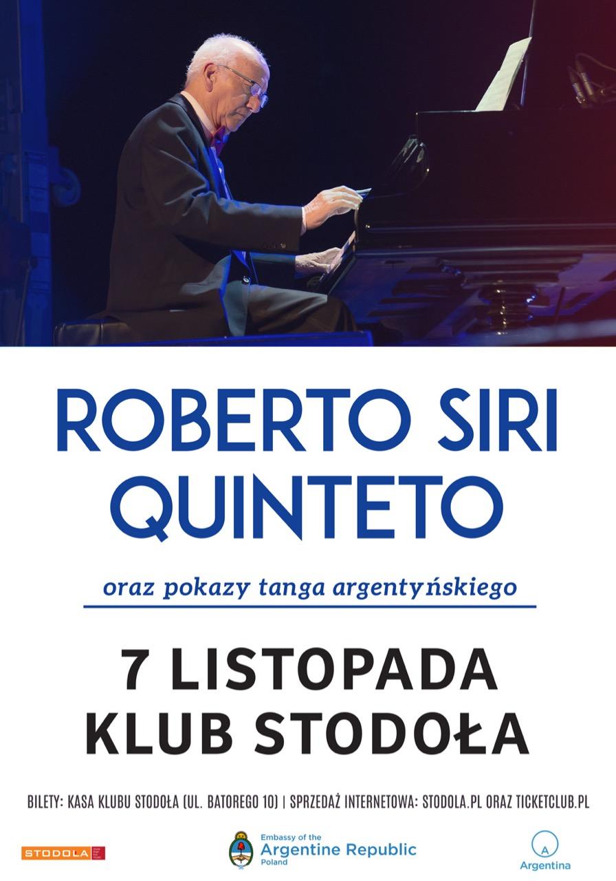 Plakat Koncertu Roberto Siri Quinteto 7.11.2019 Klub Stodoła