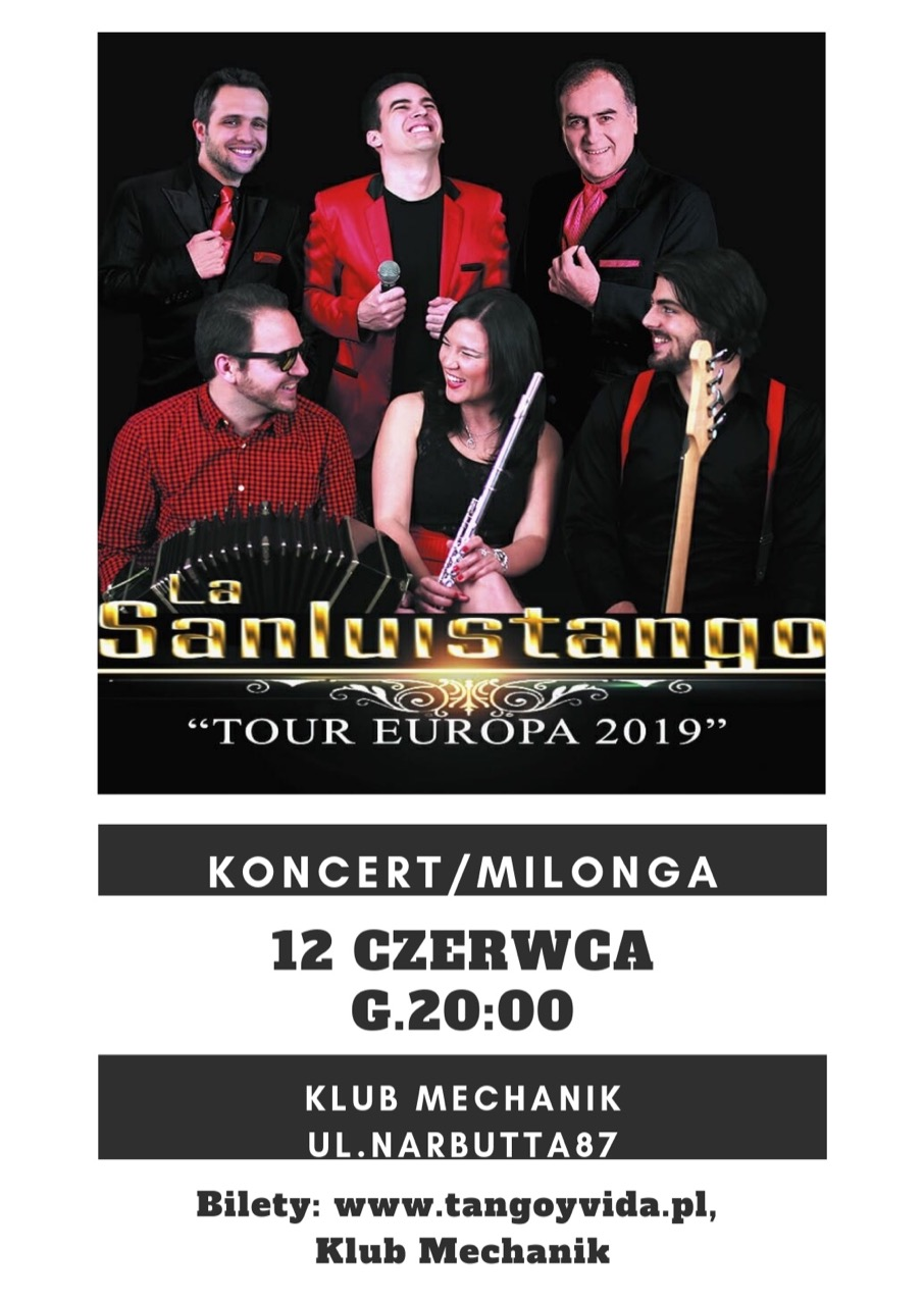 Plakat koncert/milonga La Sanluistango 12.06.2019 Klub Mechanik