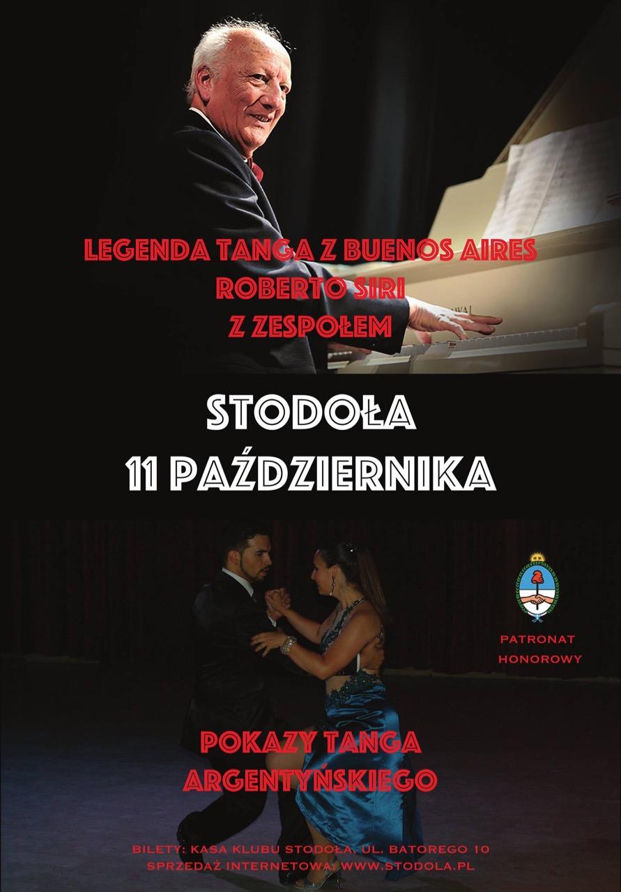 Plakat koncertu Roberto Siri Quinteto 11.10.2018 Klub Stodoła